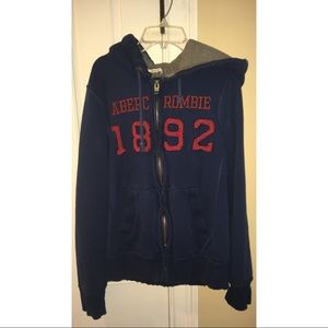 Blue and Red Zip-Up Abercrombie and Fitch Hoodie